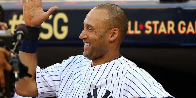 MINNEAPOLIS, MN - JULY 15:  American League All-Star Derek Jeter #2 of the New York Yankees reacts after a home run by Miguel