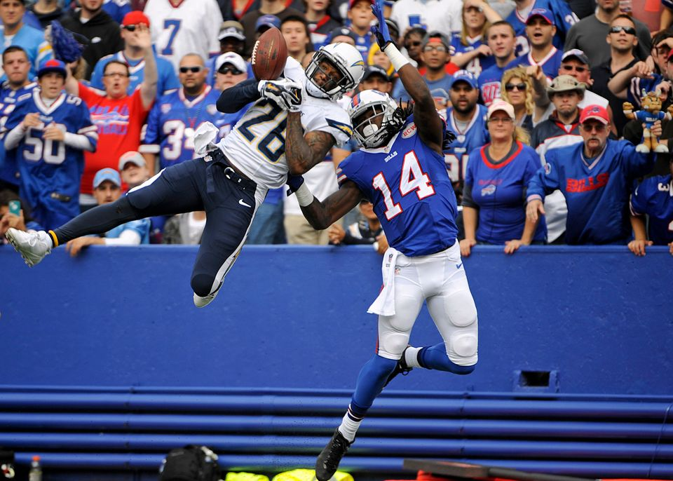 San Diego Chargers cornerback Brandon Flowers (26) breaks up a pass to Buffalo Bills wide receiver Sammy Watkins (14) during