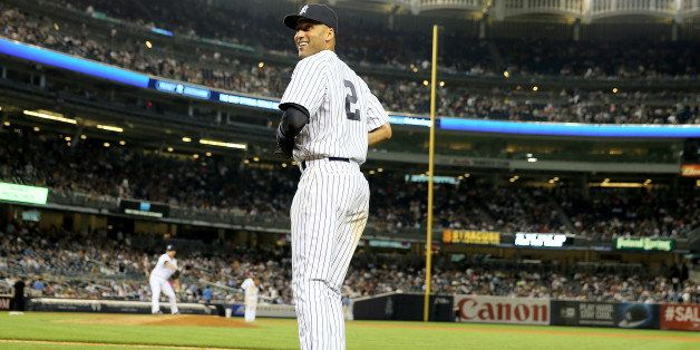 NEW YORK, NY - JULY 21:  Derek Jeter #2 of the New York Yankees heads onto the field during the game against the Texas Ranger