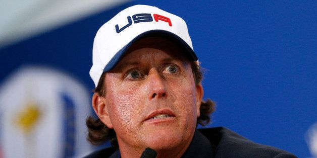 AUCHTERARDER, SCOTLAND - SEPTEMBER 28: Phil Mickelson of the United State talks during a press conference after his team were