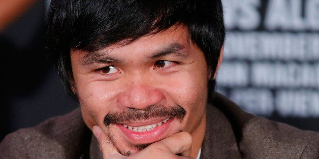 NEW YORK, NY - SEPTEMBER 04:  Manny Pacquiao attends the Manny Pacquiao v Chris Algieri Media Tour at The Liberty Theatre on