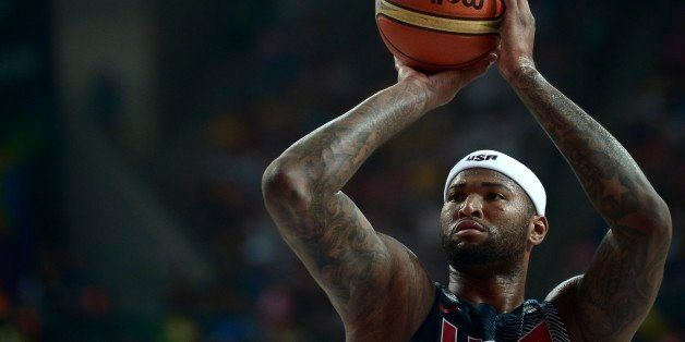 United States's DeMarcus Cousins shoots to the basket during the Basketball World Cup semifinal match against Lithuania at th