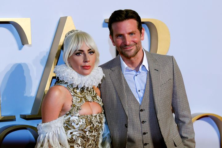 "Lady Gaga and director Bradley Cooper attend the U.K. premiere of ""A Star is Born/"""