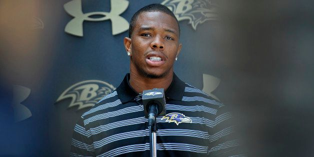 Baltimore Ravens running back Ray Rice answers question during a news conference after NFL football training camp practice, T