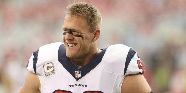 GLENDALE, AZ - NOVEMBER 10:  Defensive end J.J. Watt #99 of the Houston Texans laughs during warmups for the game with the Ar