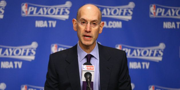 MEMPHIS, TN - APRIL 26:  Adam Silver the NBA Commissioner talks to the media before the start of the Oklahoma City Thunder ga