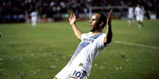 Los Angeles Galaxy's Landon Donovan celebrates scoring a goal against Real Salt Lake during the second half of an MLS soccer