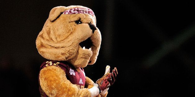 STARKVILLE, MS - NOVEMBER 28: Detailed view of 'Bully', the mascot of the Mississippi State Bulldogs, prior to a game against