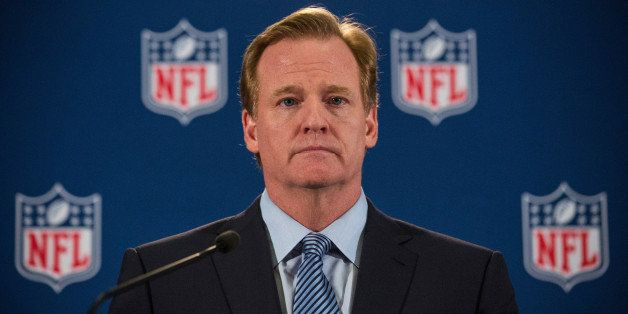 NEW YORK, NY - OCTOBER 08:  NFL Commissioner Roger Goodell holds a press conference on October 8, 2014 in New York City. Good