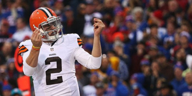 ORCHARD PARK, NY - NOVEMBER 30:  Johnny Manziel #2 of the Cleveland Browns celebrates a touchdown against the Buffalo Bills d