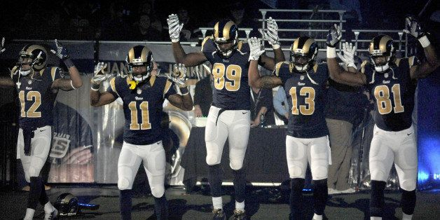 FILE - In this Sunday Nov. 30, 2014, file photo, St. Louis Rams players, from left; Stedman Bailey (12), Tavon Austin (11), J