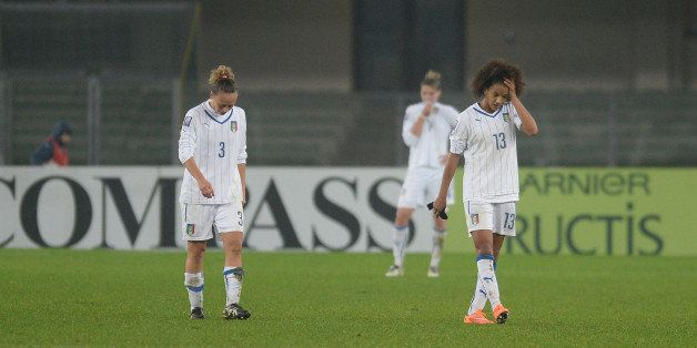 VERONA, ITALY - NOVEMBER 27:  Italy players show their dejection after the FIFA Women's World Cup Qualifier match between Ita