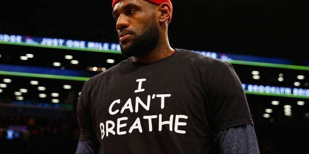 NEW YORK, NY - DECEMBER 08: LeBron James #23 of the Cleveland Cavaliers wears an 'I Can't Breathe' shirt during warmups before his game against the Brooklyn Nets during their game at the Barclays Center on December 8, 2014 in New York City. NOTE TO USER: User expressly acknowledges and agrees that, by downloading and or using this photograph, User is consenting to the terms and conditions of the Getty Images License Agreement. (Photo by Al Bello/Getty Images)