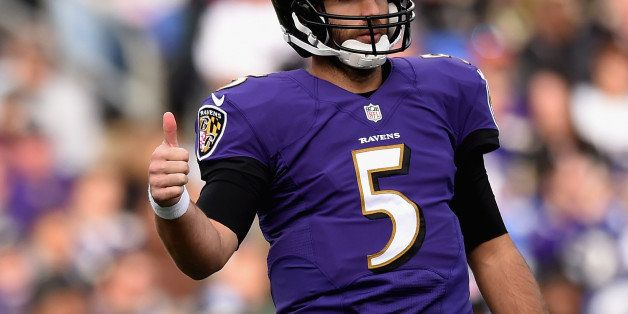 BALTIMORE, MD - NOVEMBER 09: Quarterback Joe Flacco #5 of the Baltimore Ravens signals during the second half of a game again