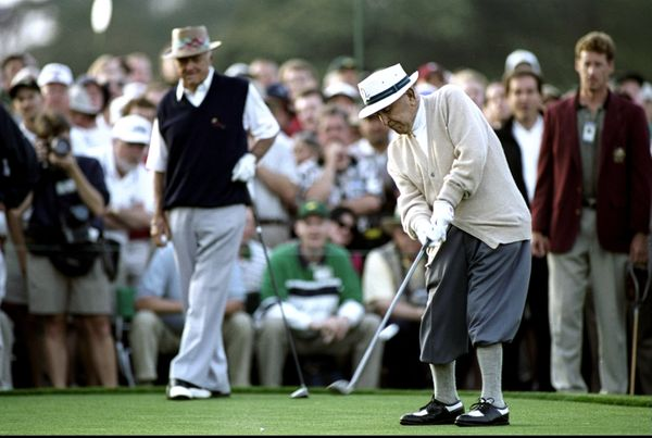 8 Apr 1999:  97 year old Gene Sarazen of the USA starts the 1999 US Masters at the Augusta National GC in Augusta, Georgia, U