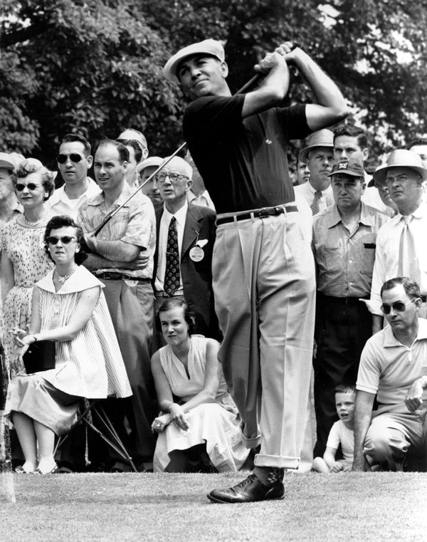 Ben Hogan drives from the sixth tee on the Baltusrol Golf Course in Springfield, N.J., June 12, 1954.  He is participating in