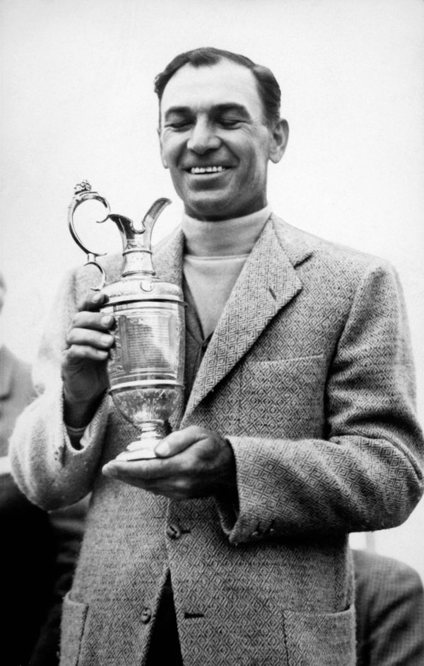 Open Champion Ben Hogan with the Claret Jug after winning The Open Championship at Carnoustie.