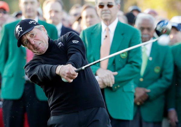 Gary Player hits a ceremonial drive on the first tee during the first round of the Masters golf tournament Thursday, April 10