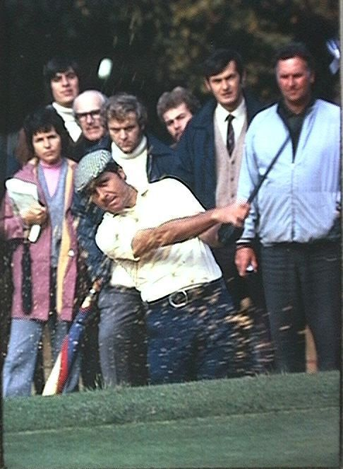 Gary Player chips out of a bunker at the Piccadilly Championship.