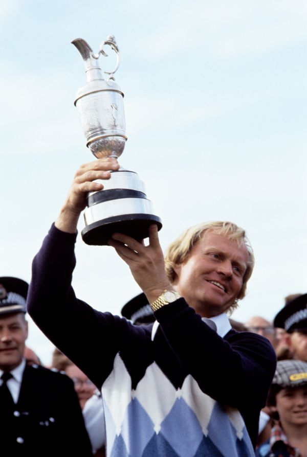 Open Champion USA's Jack Nicklaus lifts the Claret Jug after winning The Open at St Andrew's.