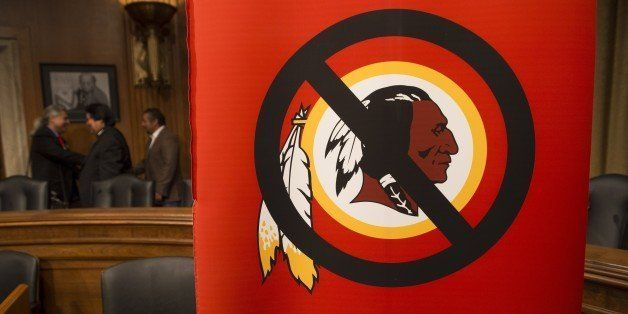A poster for the 'Change the Mascot' campaign is seen prior to a press conference by the Oneida Indian Nation leaders on Capi
