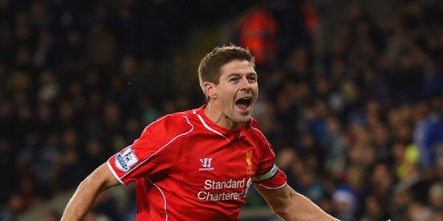 LEICESTER, ENGLAND - DECEMBER 02:  Steven Gerrard of Liverpool celebrates after scoring his team's second goal during the Bar