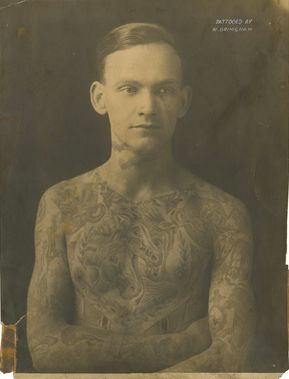 Artist Amund Dietze got his first tattoo in the early 1900s at the age of 14, and just kept on going. With tattoos from neck