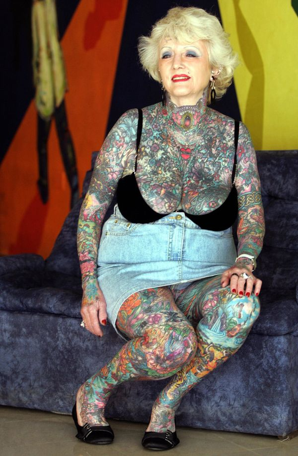 """British woman Isobel Varley has 93% of her body covered in tattoos, giving her the Guinness world record for the<a href=""""http"""