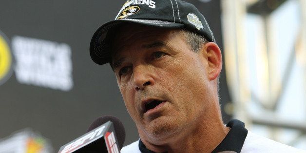 ORLANDO, FL - JANUARY 01:  Head coach Gary Pinkel of the Missouri Tigers speaks on stage after winning the Buffalo Wild Wings