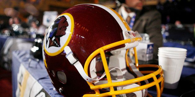 FILE - In this April 26, 2009 file photo, a Washington Redskins helmet is displayed during day two of the NFL Draft at Radio