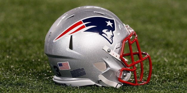 BALTIMORE, MD - SEPTEMBER 23: A New England Patriots helmet sits on the turf before the start of the Patriots game against th