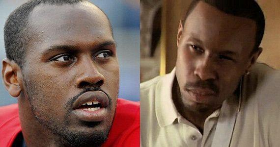 "Patriots defensive end Chandler Jones and ""The Wire"" actor Wood Harris"