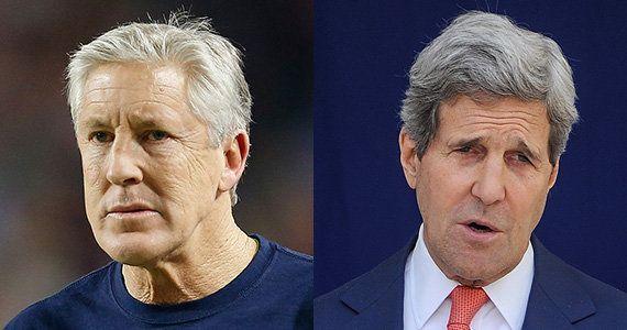 Seahawks head coach Pete Carroll and Secretary of State John Kerry