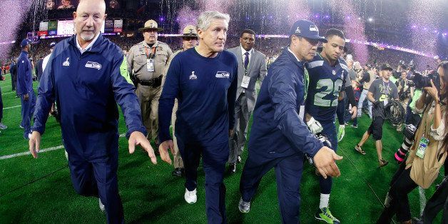 GLENDALE, AZ - FEBRUARY 01:  Head coach Pete Carroll of the Seattle Seahawks leaves the field after losing 28-24 to the New E