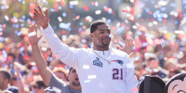 ANAHEIM, CA - FEBRUARY 02: In this handout image provided by Disneyland, New England Patriots players Julian Edelman (right)