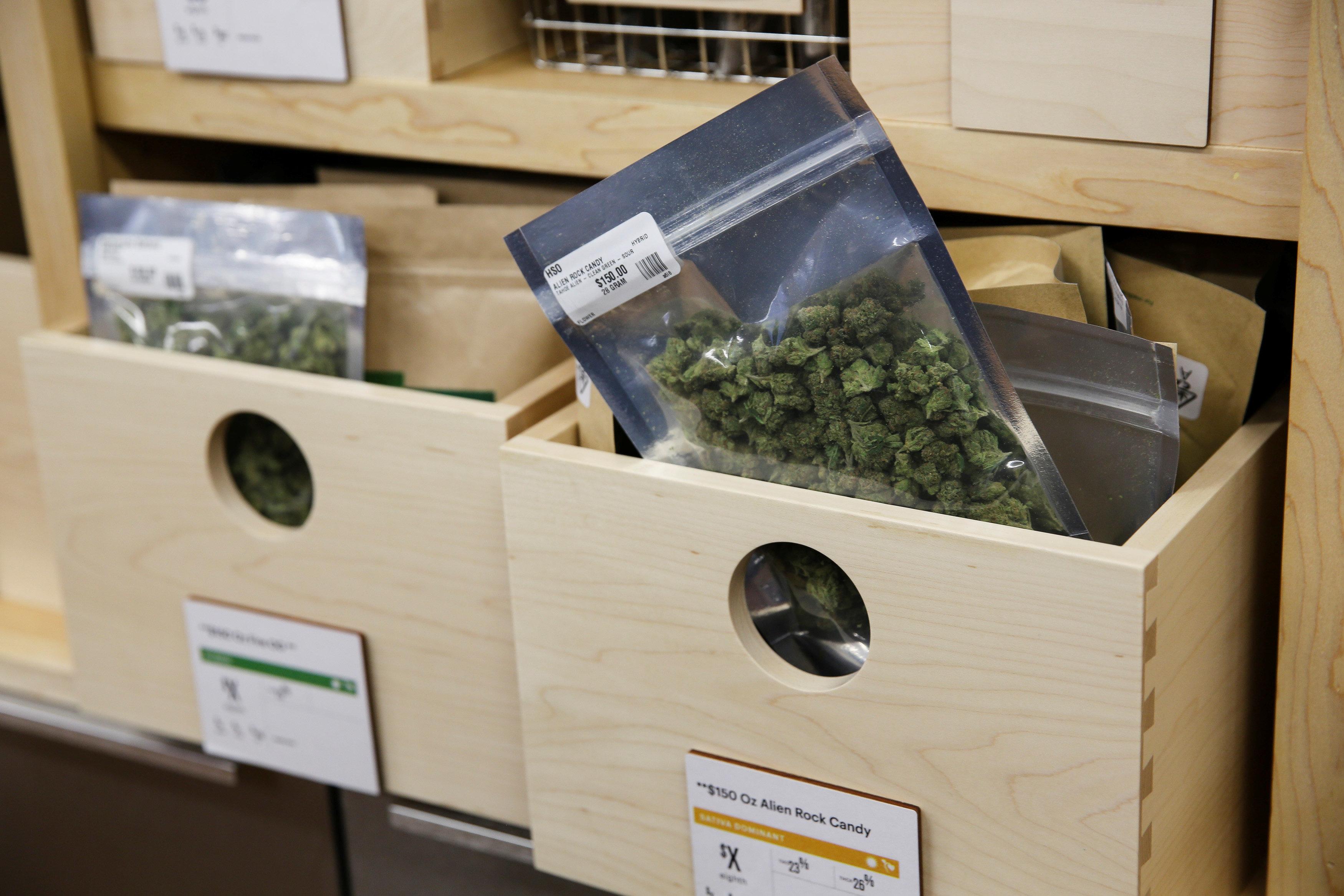 Marijuana is seen for sale at Harborside, one of California's largest and oldest dispensaries of medical marijuana, in Oaklan