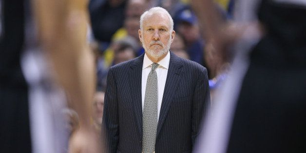 INDIANAPOLIS, IN - FEBRUARY 09:  Gregg Popovich the head coach of the San Antonio Spurs with a victory tonight against the In