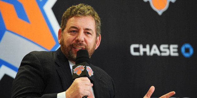 NEW YORK, NY - MARCH 18: James Dolan, Executive Chairman of Madison Square Garden, answers questions during the press confere