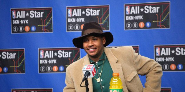 NEW YORK, NY - FEBRUARY 15: Carmelo Anthony of the Western Conference All-Stars talks to the media during the 2015 NBA All-St