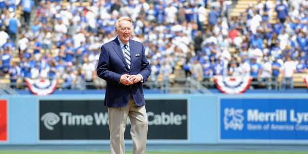 LOS ANGELES, CA - APRIL 04:  Los Angeles Dodger announcer Vin Scully during Dodgers 2014 season opening day at Dodger Stadium