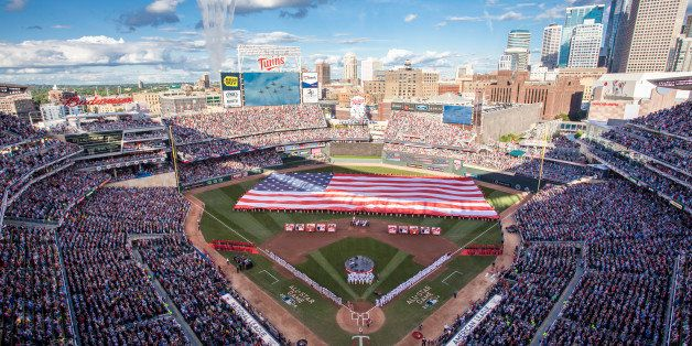 MINNEAPOLIS, MN - JULY 15: An inside view of Target Field as the Air Force Thunderbirds perform a flyover during the national