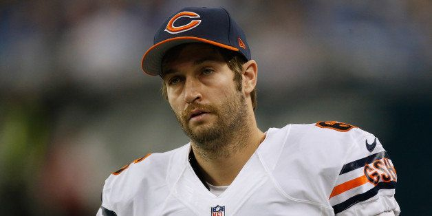 DETROIT, MI - NOVEMBER 27: Jay Cutler #6 of the Chicago Bears looks on from the bench during the first quarter while playing