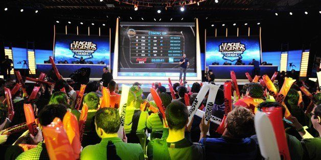 The studio audience cheers before the start of the League of Legends North American Championship Series Spring Split round ro