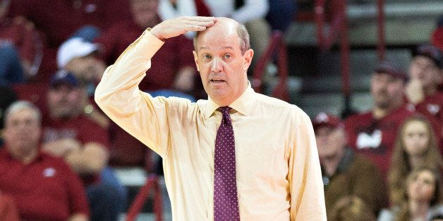 FAYETTEVILLE, AR - JANUARY 10:  Head Coach Kevin Stallings of the Vanderbilt Commodores directs his team during a game agains