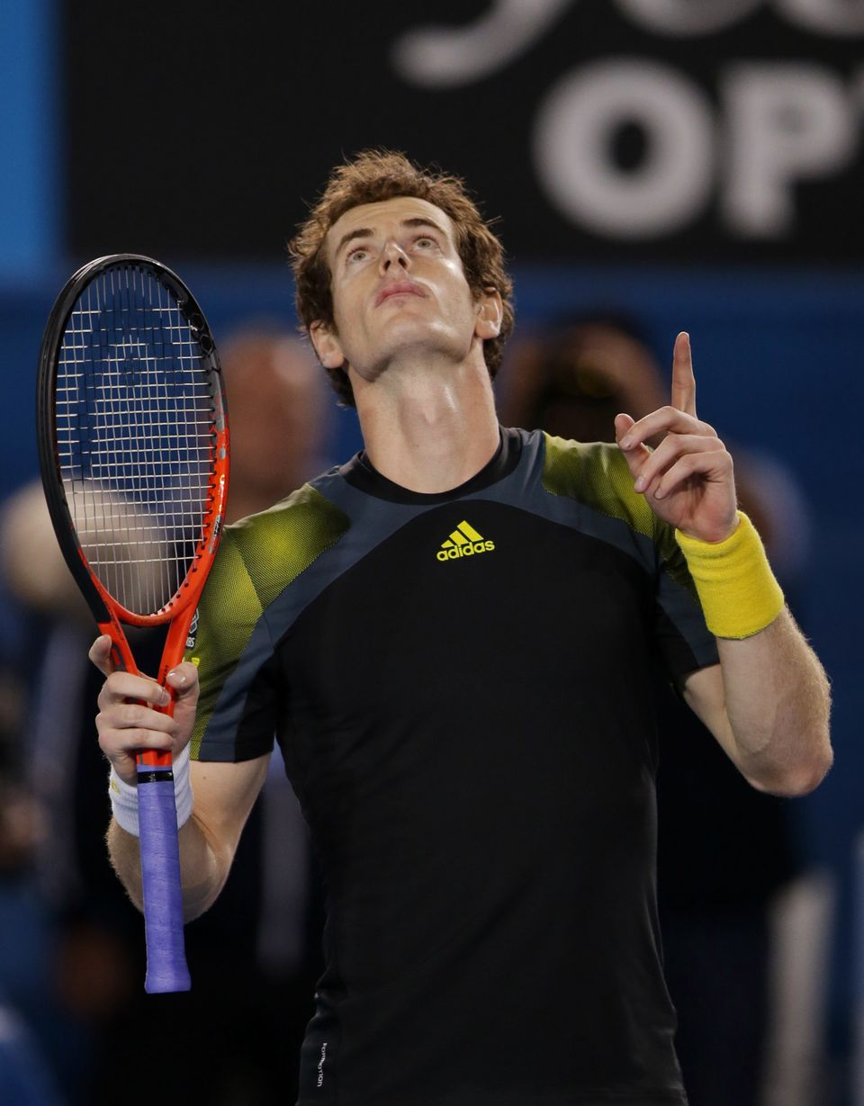 Britain's Andy Murray reacts after winning his men's semifinal against Switzerland's Roger Federer at the Australian Open ten