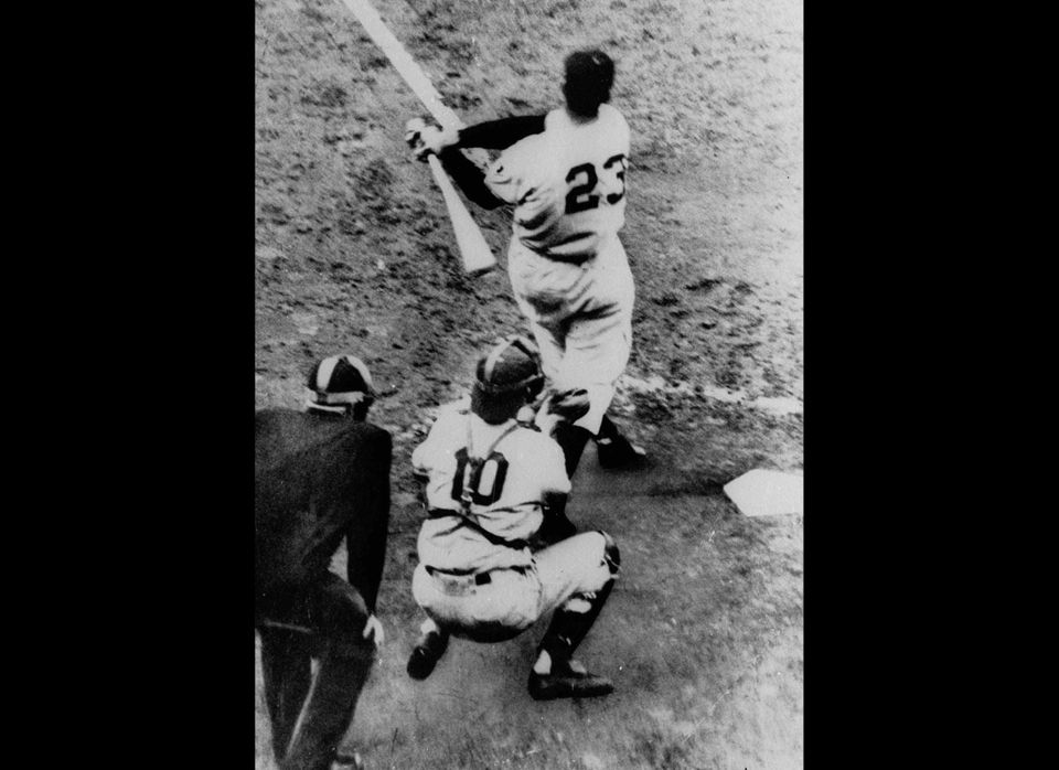 FILE - This Oct. 3, 1951, file photo shows Bobby Thomson of the New York Giants hitting a home run, to win the national Leagu