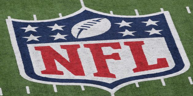 EAST RUTHERFORD, NJ - JANUARY 08:  A detail of the official National Football League NFL logo is seen painted on the turf as