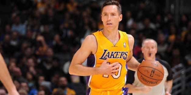 LOS ANGELES, CA - APRIL 4: Steve Nash #10 of the Los Angeles Lakers handles the ball against the Dallas Mavericks at Staples