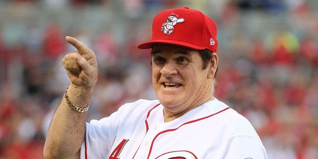 CINCINNATI - SEPTEMBER 11:  Pete Rose takes part in the ceremony celebrating the 25th anniversary of his breaking the career