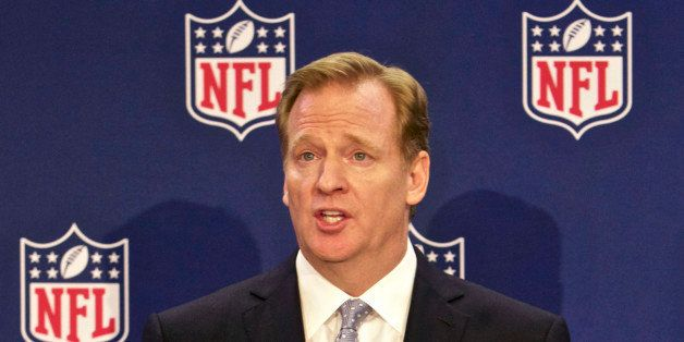 FILE - In this Dec. 10, 2014, file photo, NFL commissioner Roger Goodell speaks at an NFL press conference announcing new mea